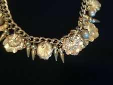 Vintage from the 50's Miriam Haskell Signed Russian Gold, leaf Balls Necklace