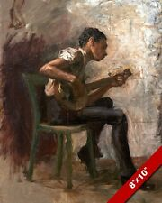 THE BLACK BANJO PLAYER AFRICAN MUSIC PAINTING TOM EAKINS ART REAL CANVAS PRINT
