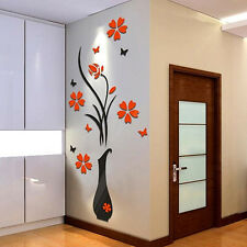 REMOVABLE 3D VASE FLOWER TREE WALL STICKERS HOME PRETTY DIY LIVING ROOM DECOR