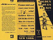 1936 Golden Gloves Finals Madison Square Garden Vintage Program RARE