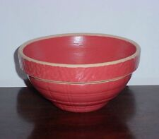 "Small Light Red Yellow Ware Stoneware Mixing Crock Bowl 6 7/8"" Pottery Leaf Band"