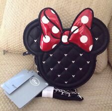 NWT DISNEY STORE LOUNGEFLY MINNIE MOUSE CROSSBODY SHOULDER BAG BLACK RED BOW HTF