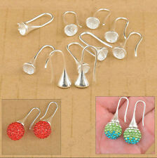 10 PCS DIY Lot Findings Bright Silver Earring Bail Trumpet Hook Ear Wires Free