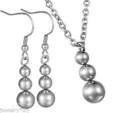 JD 1Set Womens Stainless Steel Earrings With Necklace Beads Jewelry B100255