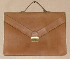 Vtg 1980s ROBERTO CEAN DESIGNS Brown Leather Carrying Briefcase Lawyer Bag Key