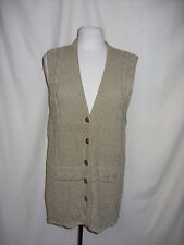"Ladies Cardigan Sleeveles green M/L patterned knit lenth 31"" buttons 0970"