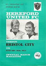 Hereford United v Bristol City - FA Cup - 26/1/1974 - Football Programme