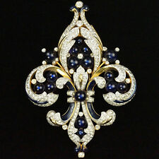 Trifari Empress Eugenie Gold Black Enamel and Sapphires Fleur de Lys Pin Clip