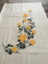 Vintage Alfred Shaheen hand printed Hawaiian linen fabric yellow rose 2 panels