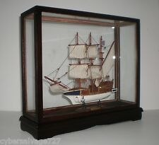 "12"" Wooden Sailboat Model Boat Ship In Glass Display Case Overall 17 x 14 x 4"