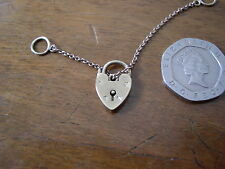 Vintage 9ct Gold Opening Padlock and Safety Chain Charm Birmingham 1961.