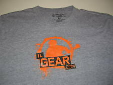 Inside Lacrosse.com IL.com Streaker Sports Shirt Size Med M Gray w/ Orange Black