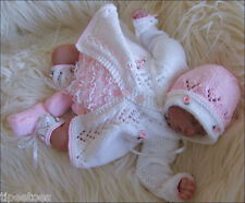 Baby Knitting Pattern DK 12 TO KNIT Matinee Set Lace Pants Bonnet Shoes Reborns