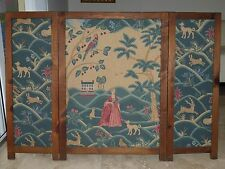 Antique Victorian Embroidery Tapestry 3 Panel Fireplace Folding Screen