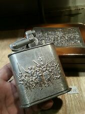 Old petrol table lighter 08 ~ KW Sterling silver auto lid cigar box ,  serviced