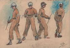 WW2 US MILITARY POLICE Watercolour Painting OCTOBER 1944 SIGNED