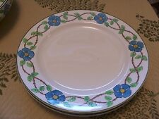 """grindley set 4 - 10"""" dinner plates turquoise blue flowers """"the victory"""""""