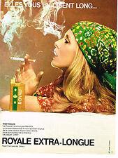 PUBLICITE ADVERTISING 054  1971  ROYALE  cigarette extra longue mentholée