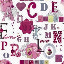 Jugendzimmer Vlies Tapete smita WHAT'S UP? WU17643 Blumen Buchstaben Pink Weiß
