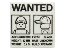 LEGO - Tile 2 x 2 - 'WANTED' Minifig Front & Side Mugshots Poster Pattern