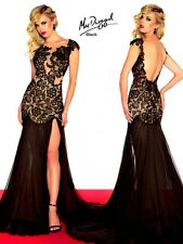 61041R Black MacDuggal Lace Gown Party Evening Formal Dress Prom Size USA 6
