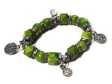 Bijou alliage argenté bracelet breloques lucite verte bangle