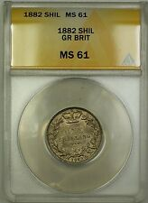 1882 Great Britain 1S Shilling Silver Coin ANACS MS-61
