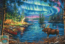 Cross Stitch Kit ~ Gold Collection Northern Night Moose by Lake #70-35312