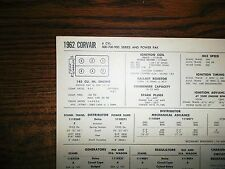 1962 Chevrolet Corvair Series 500-700-900 145 SUN Tune Up Chart Great Condition!