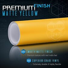 """Matte Flat Yellow Vinyl Wrap Film Decal Bubble Free Air Release - 12"""" x 60"""" In"""