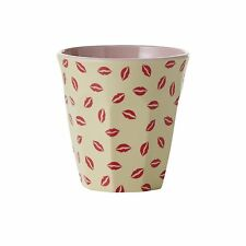 RICE Melamine cup in lips/kiss print