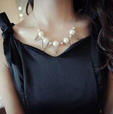 Elegant Charm Pearl Choker Chunky Statement Bib Pendant Chain Necklace Jewelry