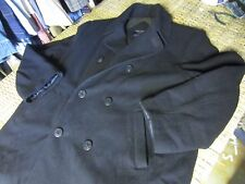 AMERICAN EAGLE Navy blue Wool Double Breasted Pea Coat men XL military GUC lined