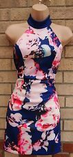 LONG NECK BLUE PINK FLORAL BACKLESS SEXY PARTY BODYCON TUBE PENCIL DRESS 8 6 S