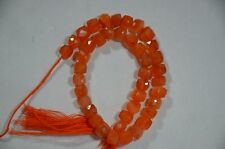 """Carnelian 3D Cube Box Micro Faceted  Gemstone Beads 9"""" strand A+,41 beads."""