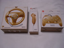 Nintendo Wii Gold Nunchuck + Controller + Wheel Set Club Nintendo New