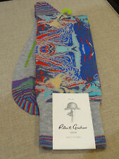 Robert Graham Peruvian Mid Calf socks Heather Grey royal blue red Abstract art