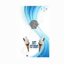 ice cream van machine sticker, 141 blue swirl design