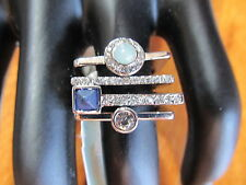 NEW Danielle Nicole Multigemstone & Clear Stone 4-pc Stack Ring Set SZ 7 Silver