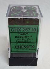 CHESSEX 16mm SPECKLED DICE - EARTH w/GREEN PIPS! SOIL & PLANTS! FULL BOX OF 12!