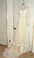 ANTIQUE WEDDING GOWN DRESS LACE LONG SLEEVE HIGH NECKLINE BEADED BEIGE TRAIN