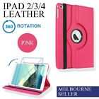 Pink iPad 4 4th iPad3 iPad2 Smart Leather Cover Case Skin Stand 360° Rotate
