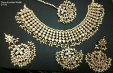 Polki Kundan Bollywood Party Wear Jewelry Gold Plated Bridal Necklace Set Indian