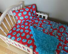 Toddler Bed DR SEUSS Fabric CAT IN THE HAT Crib Set Large Rag Quilt Sheet & Case