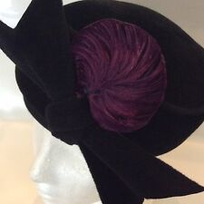 Vintage Black Velvet Pillbox Hat by Duby New York With Purple Feather Size 22.5