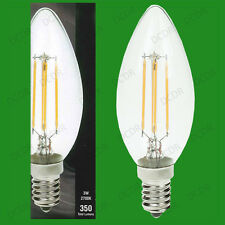 3W LED Filament Candle Ultra Low Energy Instant Start Light Bulb, SES, E14 Lamp