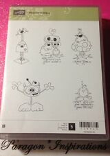 NEW Stampin Up MONSTERMANIACS Monsters Aliens Valentine's Day RARE WOOD MOUNT