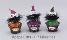 Ohio Wholesale Halloween Decor Battery Led Light-up Cute Ghost Cupcakes 3pc Set
