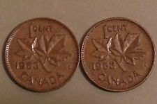 1953 SF - 1953 NSF two varieties - Canada Pennies - NICE