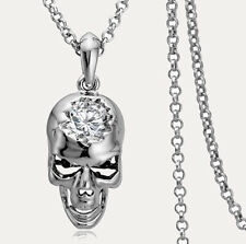 Cool Design White Gold Plated 3D Skull Cubic Zirconia CZ Pendant Necklace Chain